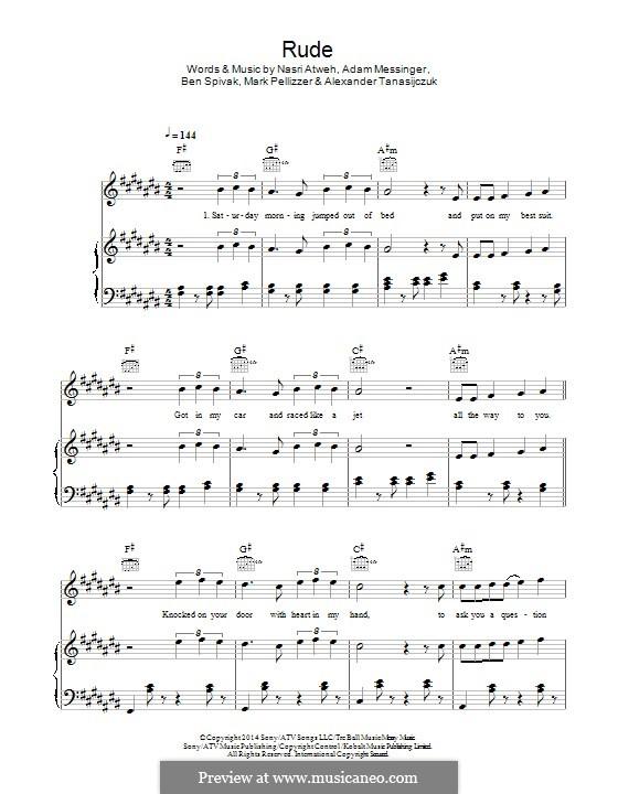 Rude (MAGIC!): For voice and piano (or guitar) by Adam Messinger, Nasri Atweh, Mark Pellizzer, Alex Tanas, Ben Spivak