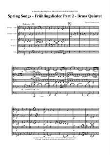 Spring Songs. Part 2: For brass quintet by folklore