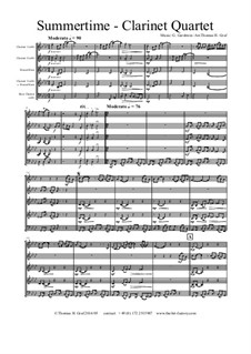 Summertime: For clarinet quartet by George Gershwin