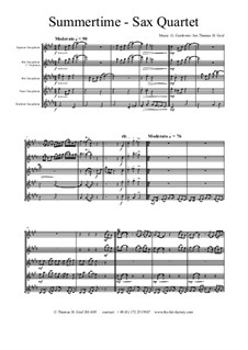 Summertime: For saxophone quartet by George Gershwin
