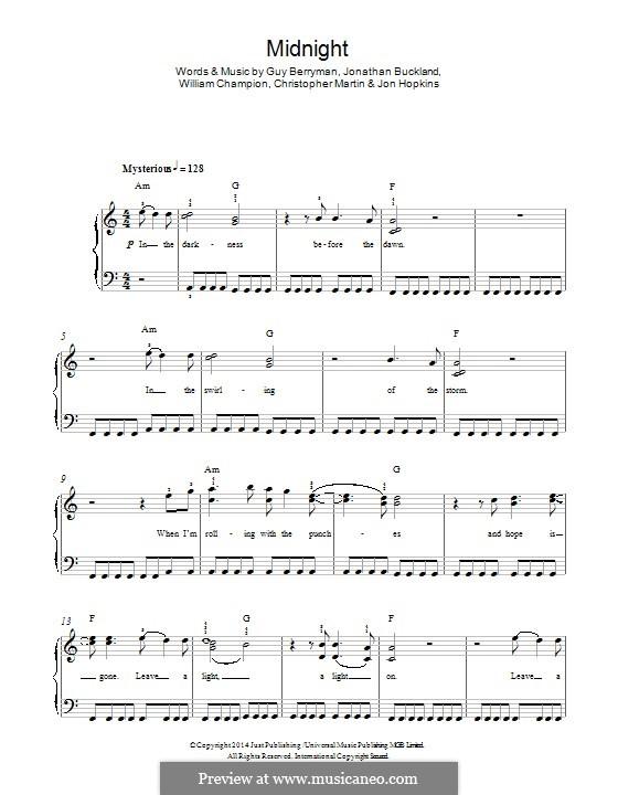 Midnight (Coldplay): For piano by Chris Martin, Guy Berryman, Jonny Buckland, Jon Hopkins, Will Champion