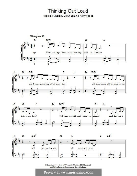 Piano piano chords of thinking out loud : Thinking Out Loud by E. Sheeran, A. Wadge - sheet music on MusicaNeo