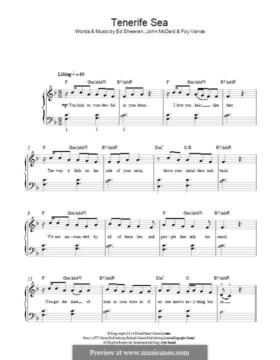 Tenerife Sea by E. Sheeran, J. McDaid, F. Vance - sheet music on ...