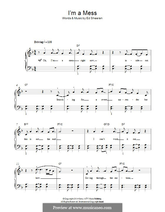 I'm a Mess: For piano by Ed Sheeran