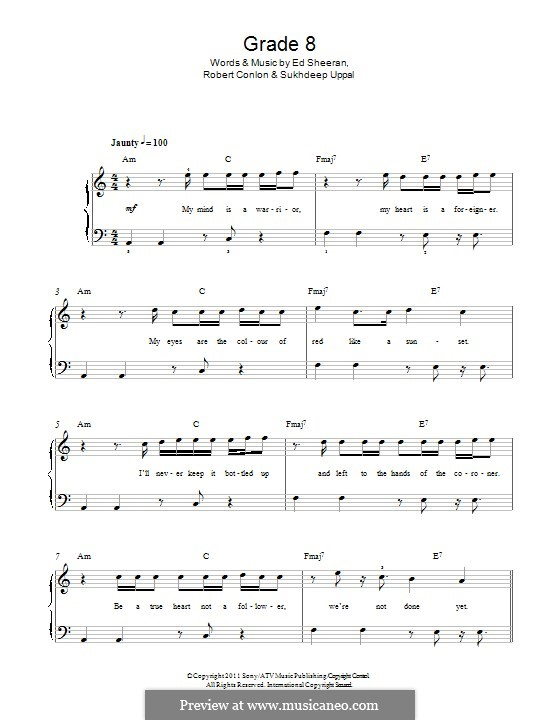 Grade 8: For piano by Ed Sheeran, Robert Conlon, Sukhdeep Uppal