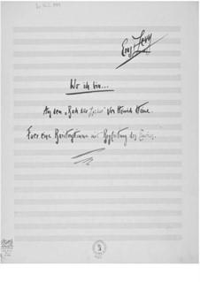 Wo ich bin for Baritone and Piano: Wo ich bin for Baritone and Piano by Ernst Levy