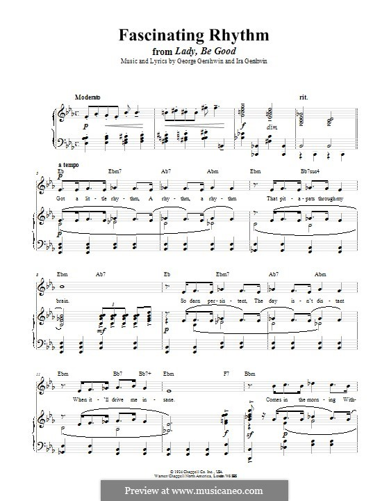 Fascinating Rhythm: For voice and piano (or guitar) by George Gershwin