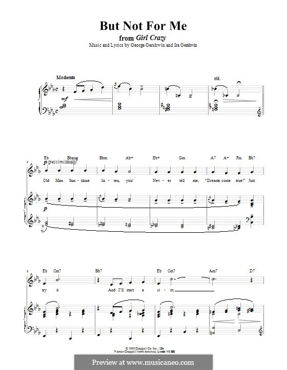 But not for Me: For voice and piano (or guitar) by George Gershwin