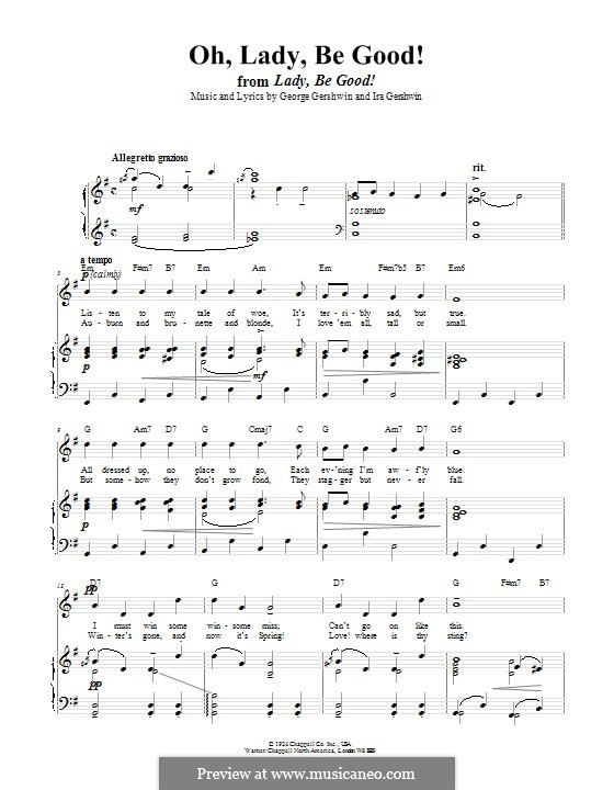 Oh, Lady, Be Good: For voice and piano (or guitar) by George Gershwin
