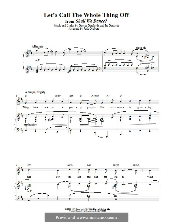 Let's Call the Whole Thing Off: For voice and piano (or guitar) by George Gershwin