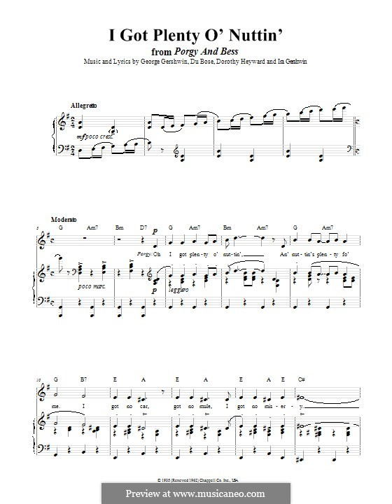 I Got Plenty O' Nuttin': For voice and piano (or guitar) by George Gershwin
