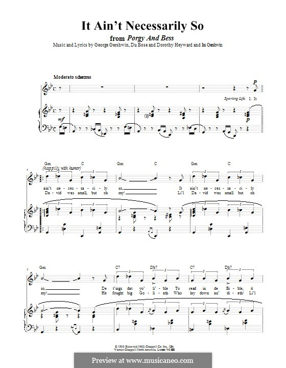 It ain't Necessarily So: For voice and piano (or guitar) by George Gershwin