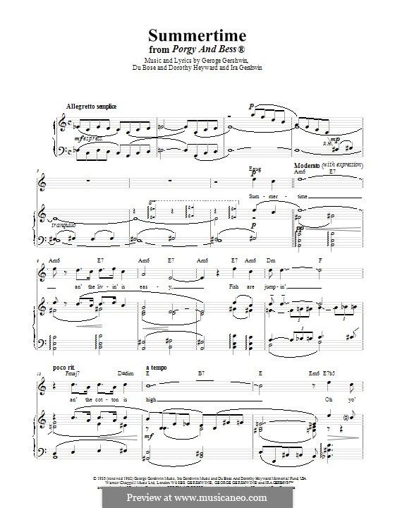 Summertime: For voice and piano (or guitar) by George Gershwin