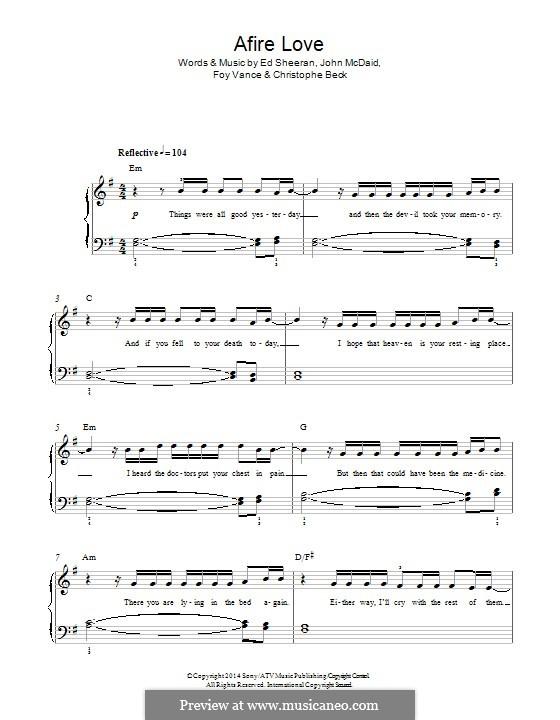 Afire Love: For piano by Ed Sheeran, Christophe Beck, John McDaid, Foy Vance