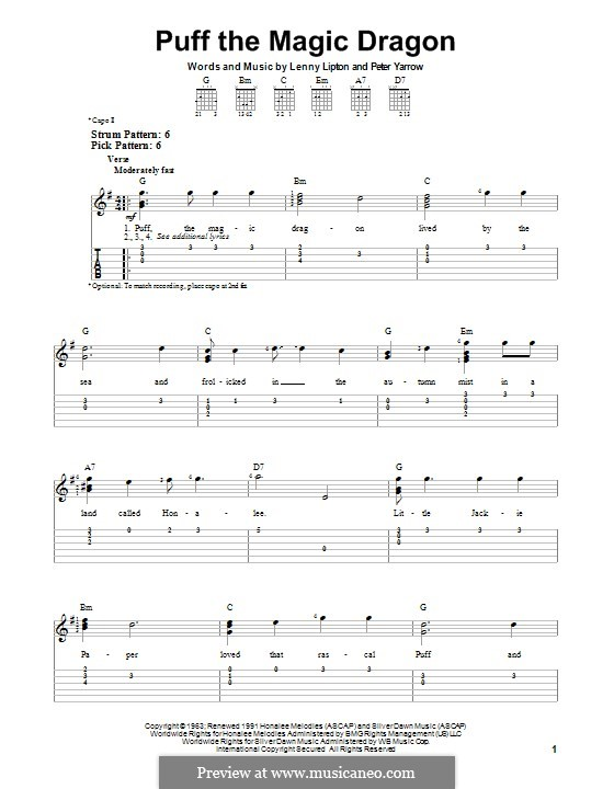 Puff the Magic Dragon (Peter, Paul & Mary): For guitar with tab by Lenny Lipton, Peter Yarrow