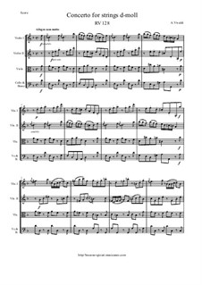 Concerto for Strings in D Minor, RV 128: Score and parts by Antonio Vivaldi