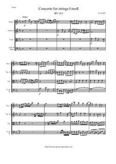 Concerto for Strings in F Minor, RV 143: Score and parts by Antonio Vivaldi