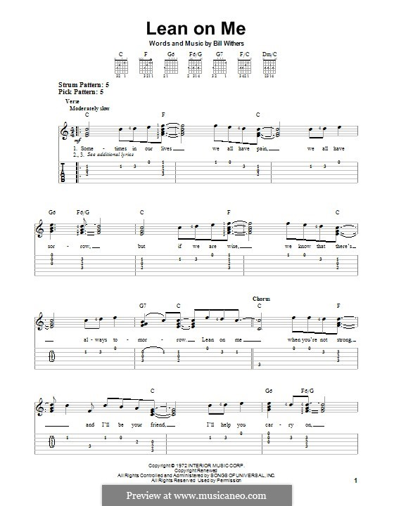Lean on Me: For guitar with tab by Bill Withers