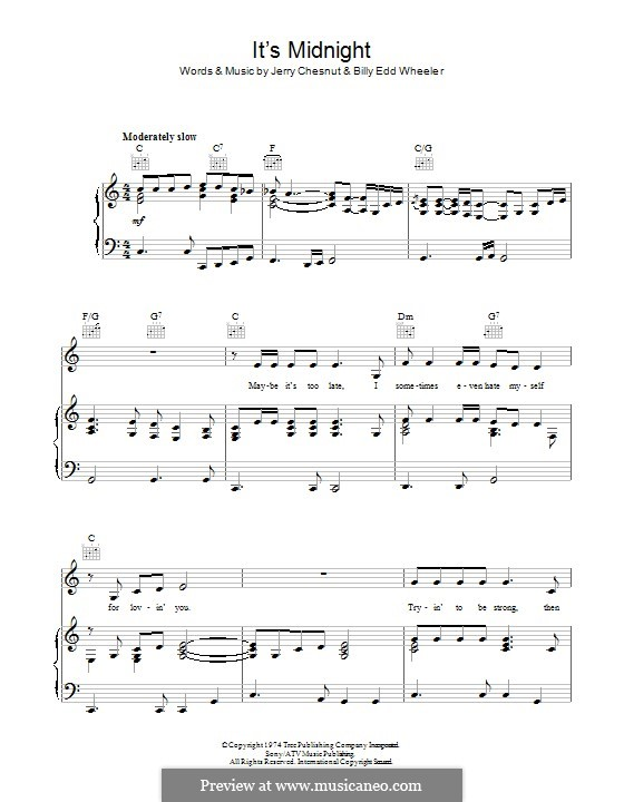 It's Midnight (Elvis Presley): For voice and piano (or guitar) by Billy Edd Wheeler, Jerry Chesnut