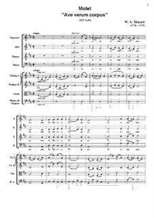 Ave verum corpus, K.618: For string orchestra by Wolfgang Amadeus Mozart