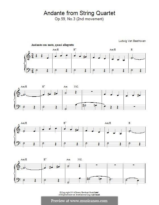 String Quartet No.9 in C Major, Op.59 No.3: Andante, for piano by Ludwig van Beethoven