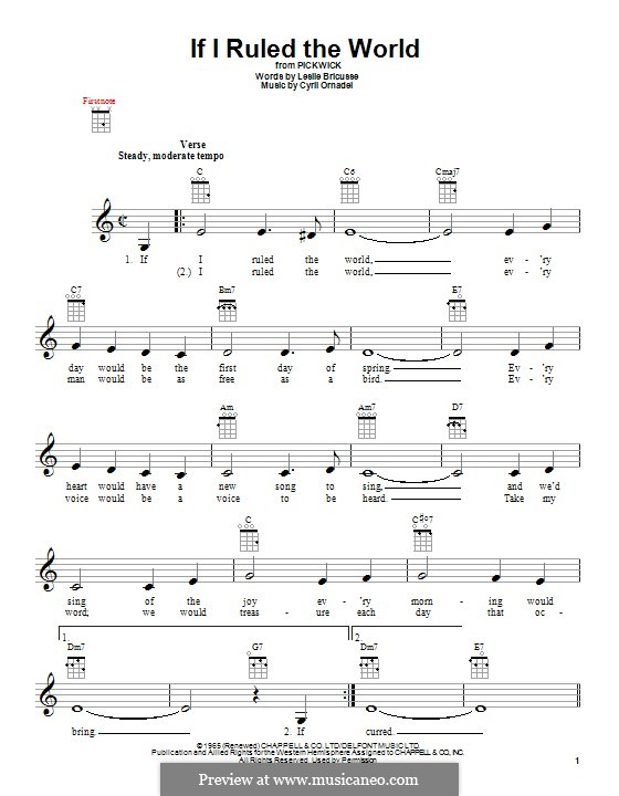 If I Ruled the World: For ukulele by Cyril Ornadel