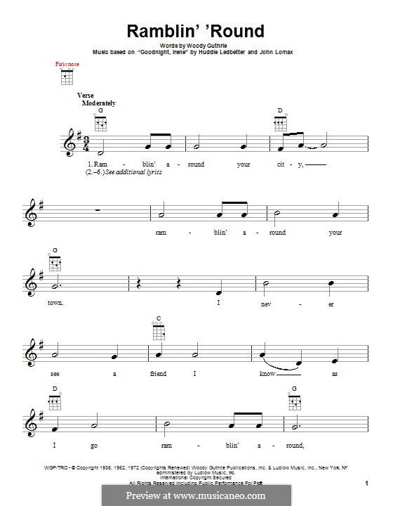 Ramblin' 'Round: For ukulele by Huddie Ledbetter, John A. Lomax