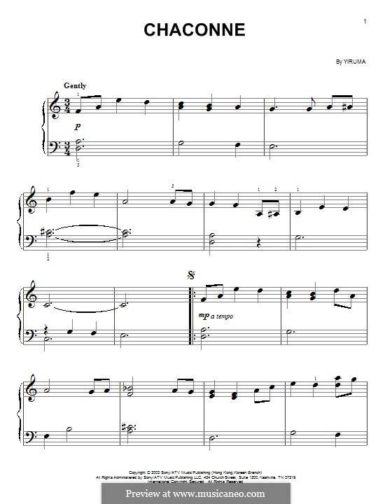 Chaconne: For easy piano by Yiruma