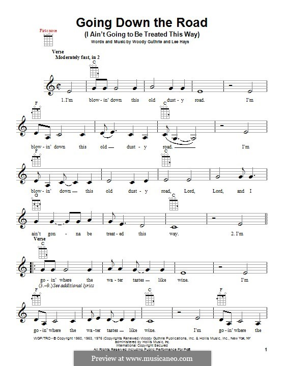 Going Down the Road (I ain't Going To Be Treated This Way): For ukulele by Lee Hays, Woody Guthrie
