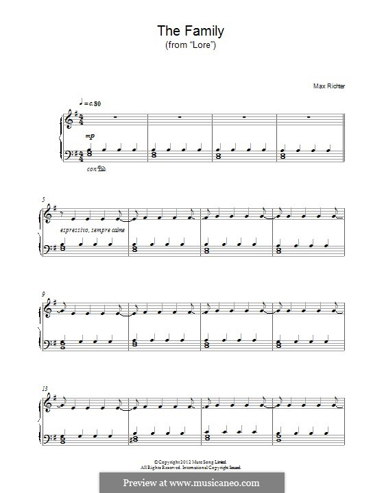 The Family (from 'Lore'): For piano by Max Richter