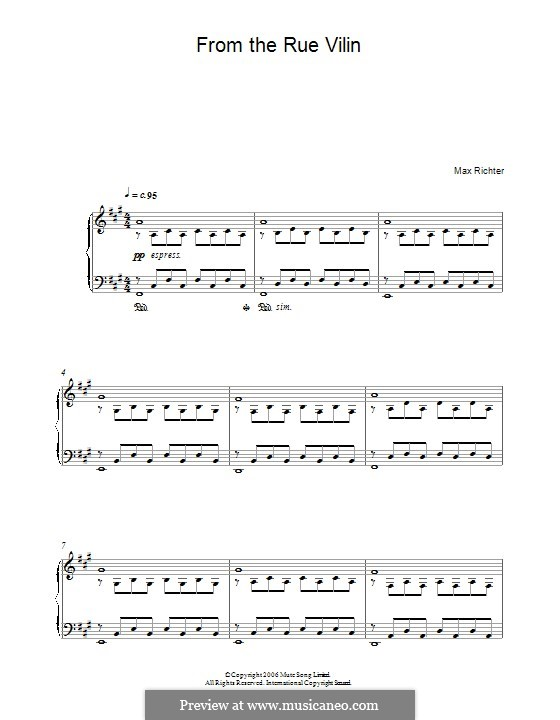 From the Rue Vilin: For piano by Max Richter