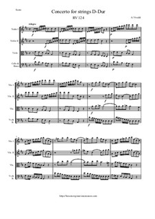 Concerto for Strings in D Major, RV 124: Score and parts by Antonio Vivaldi