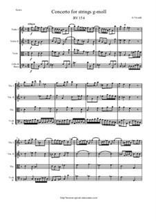 Concerto for Strings in G Minor, RV 154: Score and parts by Antonio Vivaldi