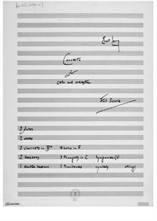 Concerto for Cello and Orchestra: Full score by Ernst Levy