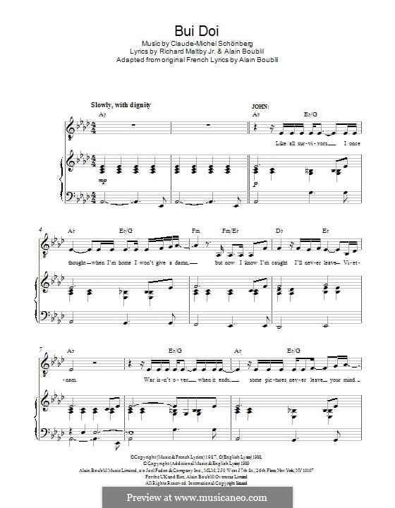 Bui-Doi: For voice and piano by Claude-Michel Schönberg