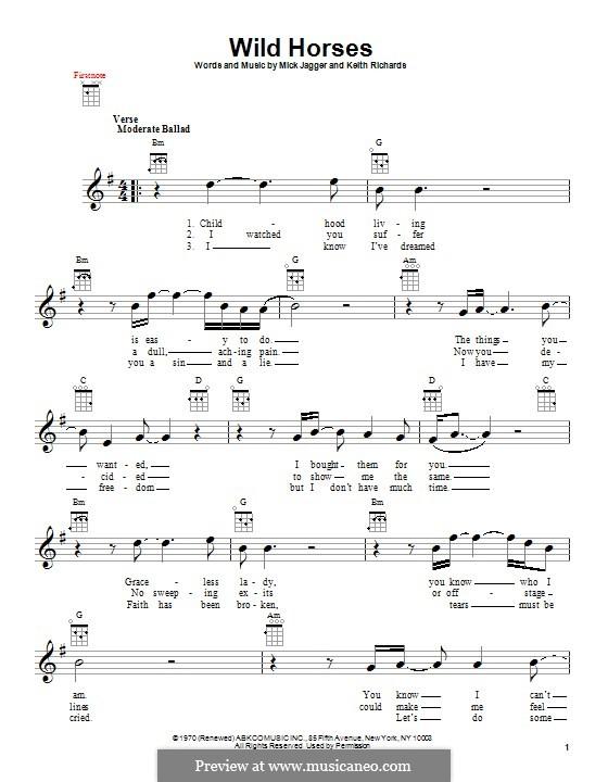 Wild Horses (Susan Boyle): For ukulele by Keith Richards, Mick Jagger