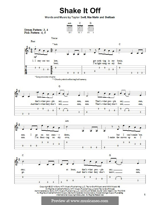 Shake it Off: For guitar with tab by Shellback, Max Martin, Taylor Swift
