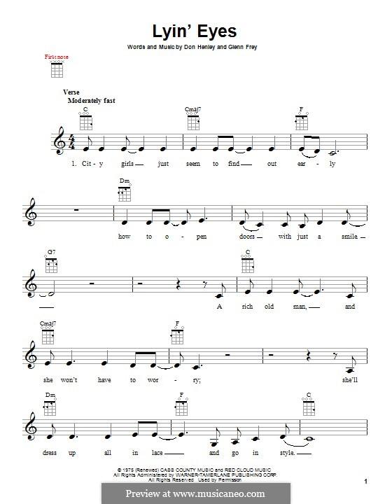 Lyin Eyes The Eagles By D Henley G Frey Sheet Music On Musicaneo
