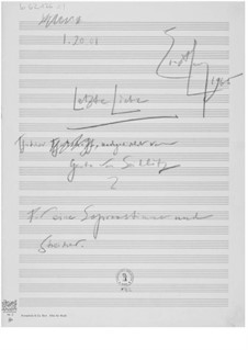 The Last Love for Soprano and String Orchestra: Composer's Sketches by Ernst Levy
