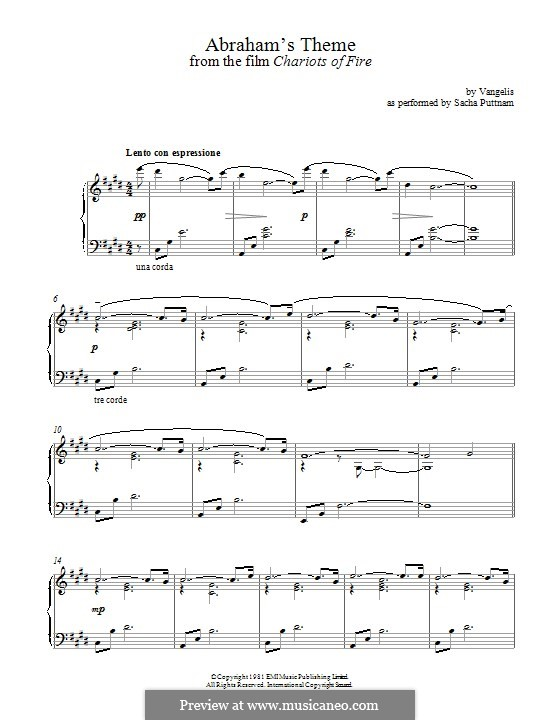 Abraham's Theme (from Chariots of Fire): For piano by Vangelis