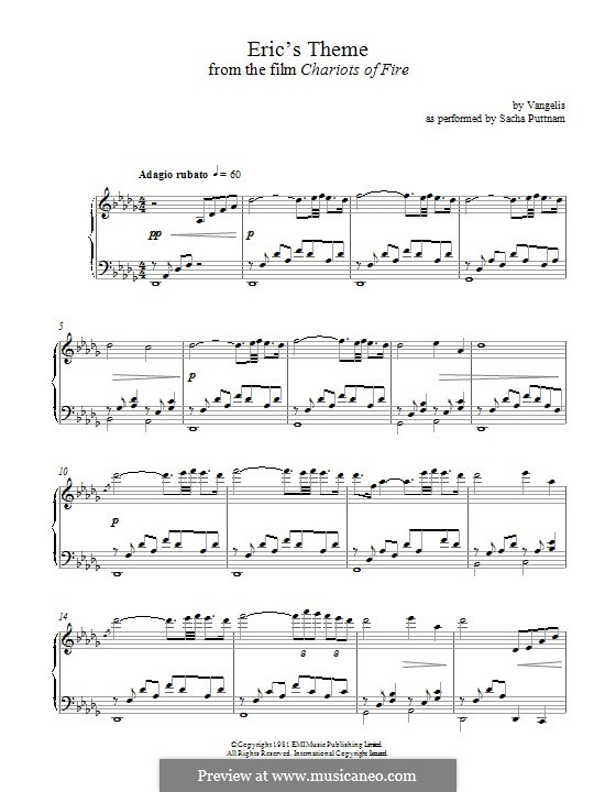 Eric's Theme (from Chariots of Fire): For piano by Vangelis