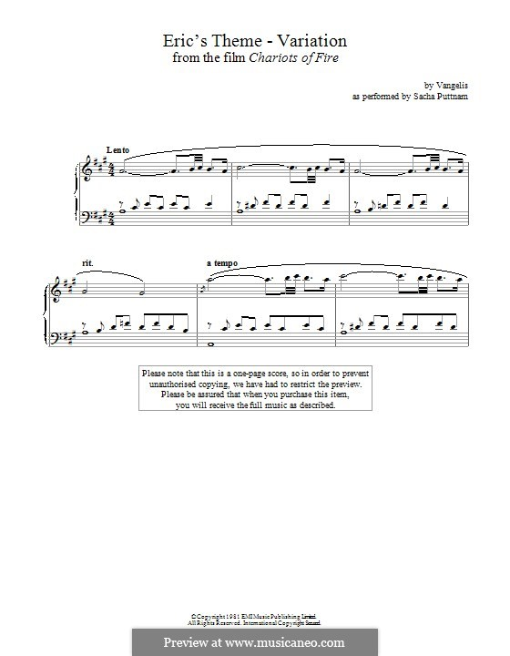 Eric's Theme (from Chariots of Fire): Variation, for piano by Vangelis