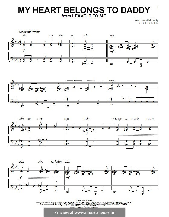 My Heart Belongs to Daddy: For piano by Cole Porter