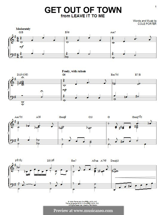Get Out of Town: For piano by Cole Porter