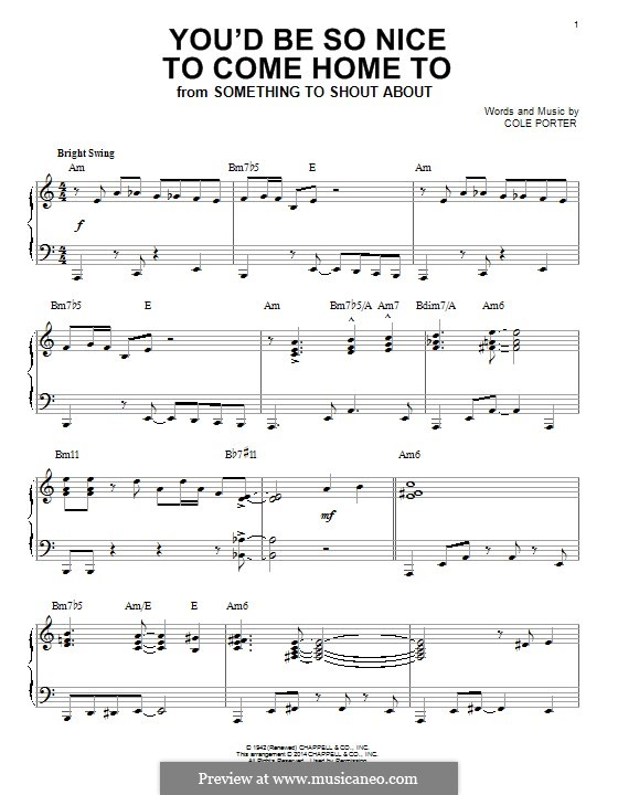 You'd Be So Nice to Come Home to: For piano by Cole Porter