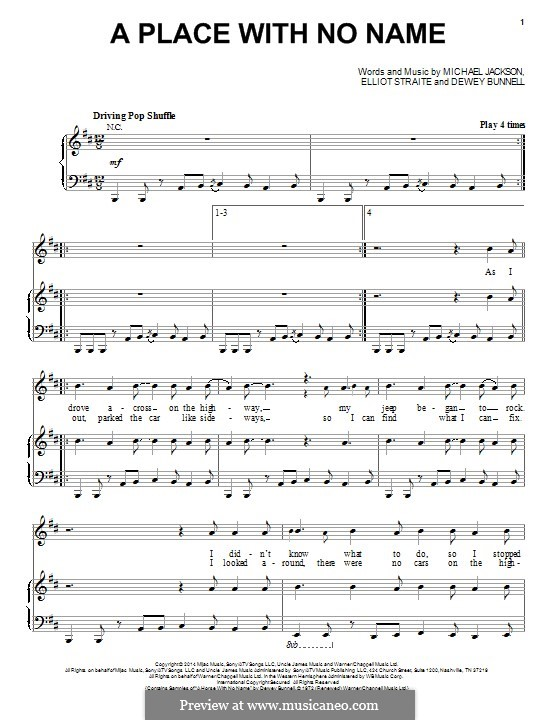 A Place with No Name (Michael Jackson): For voice and piano (or guitar) by Dewey Bunnell