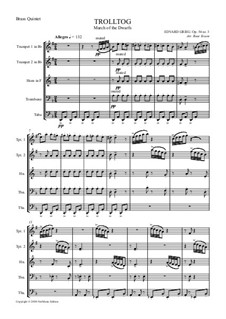 Lyric Pieces, Op.54: No.3 March of the Dwarfs, for wind quintet by Edvard Grieg