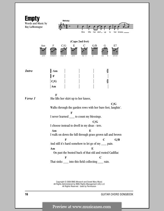 Empty: Lyrics and chords by Ray LaMontagne