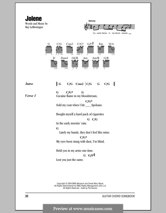 Jolene By R Lamontagne Sheet Music On Musicaneo