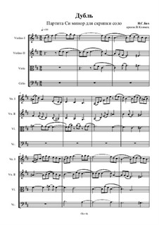 Partita for Violin No.1 in B Minor, BWV 1002: Double. Arrangement for string quartet – score, Op.37 No.3 by Johann Sebastian Bach